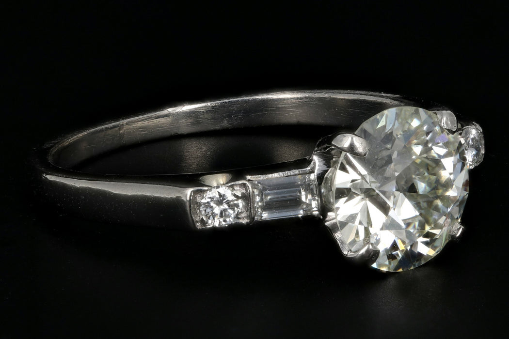Mid Century Platinum 1.35 Carat Diamond Engagement Ring GIA Certified - Queen May