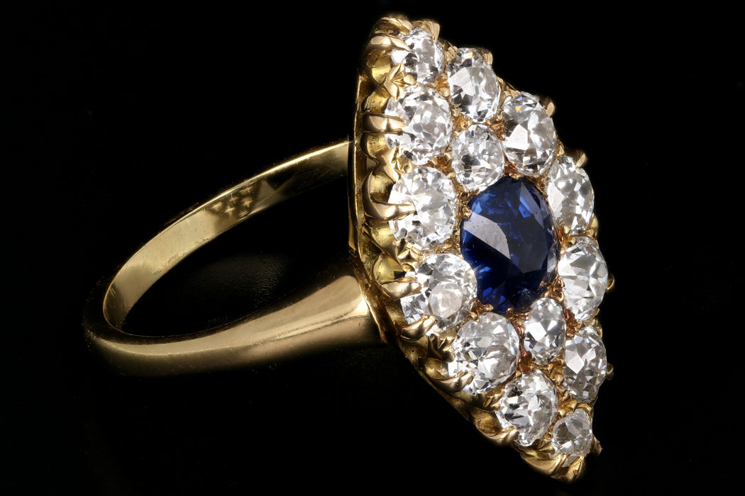 Victorian 18K Yellow Gold 1 Carat Natural No Heat Sapphire and Diamond Navette Ring - Queen May