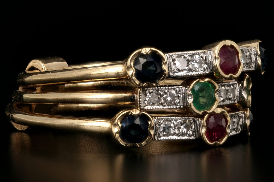 Victorian Revival 14K Yellow Gold Diamond Ruby Emerald Sapphire Harem Ring - Queen May