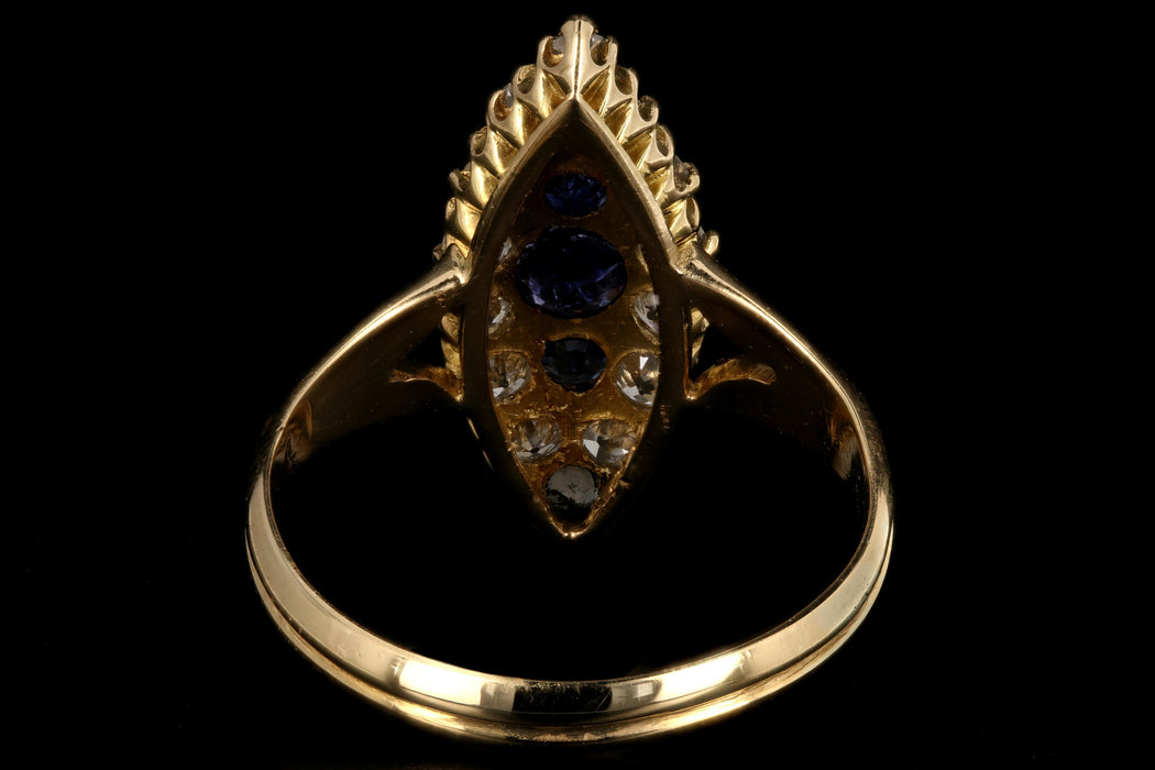 Victorian 18K Yellow Gold Diamond and Sapphire Navette Ring - Queen May