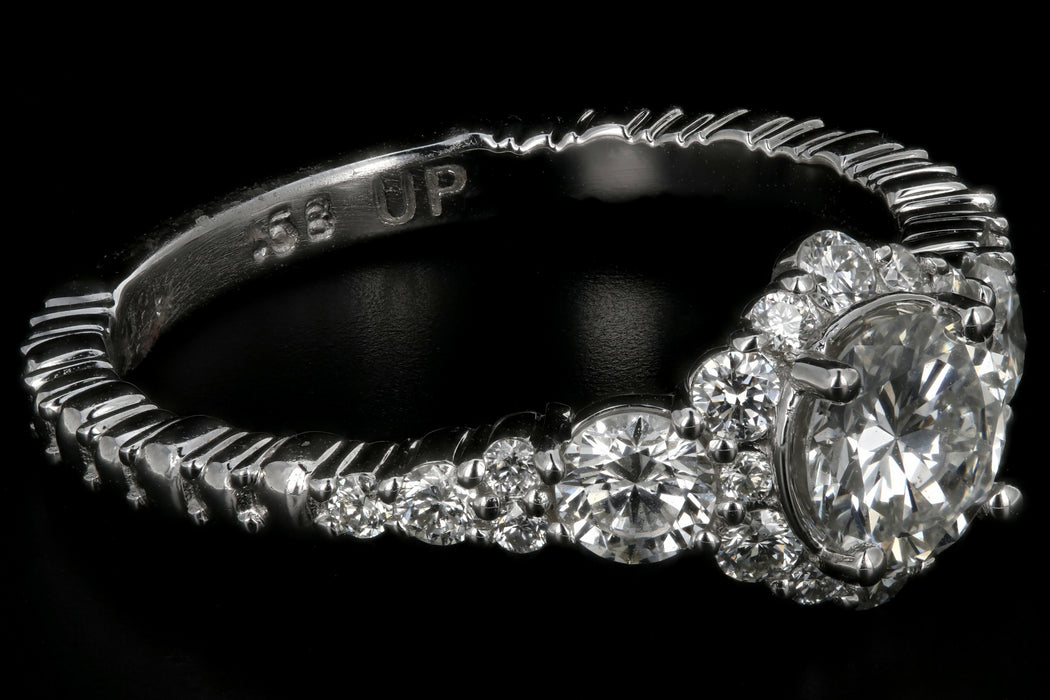 Modern 18K White Gold .58CT Round Cut Diamond Halo Engagement Ring - Queen May