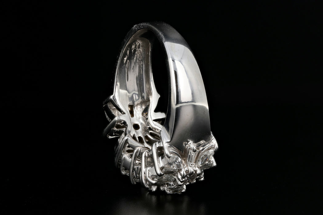 Modern 14K White Gold 1 Carat Diamond Flower Band Ring - Queen May
