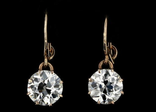 Victorian 14K Rose Gold 3.75 Carat Total Diamond Drop Earrings