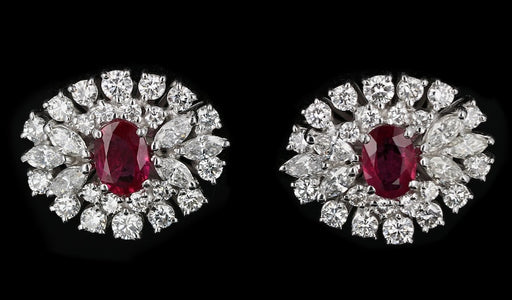 Vintage 18K White Gold 1.10 Carat Burma Ruby & Diamond Earrings Stone Group Certified - Queen May