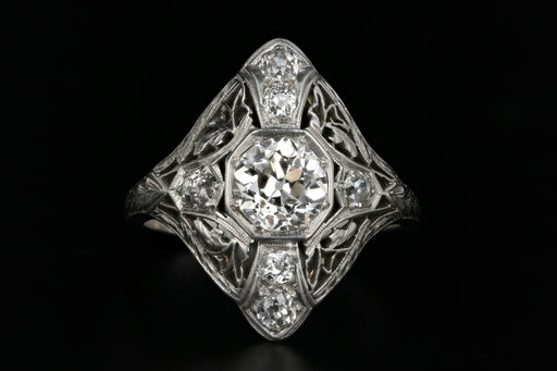 Art Deco Platinum 1.01 Carat Old Mine Cut Diamond Shield Ring - Queen May