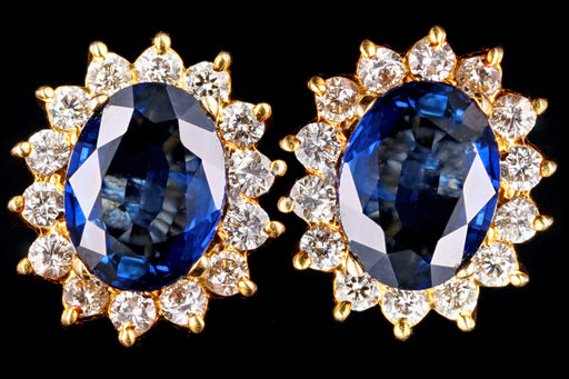 Modern 18K Yellow Gold Oval Sapphire & Diamond Halo Stud Earrings