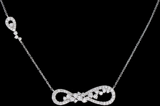 Modern 14K White Gold Diamond Infinity Necklace