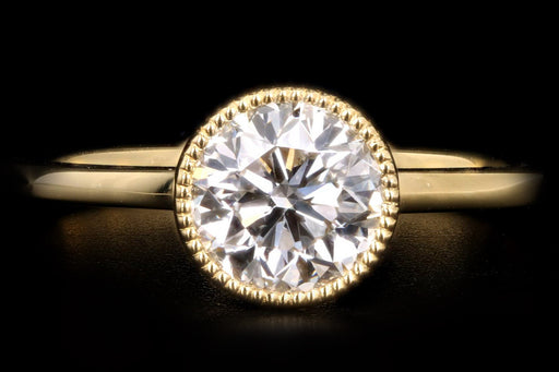New 18K Yellow Gold 1.01 Carat Round Brilliant Diamond Bezel Engagement Ring GIA Certified