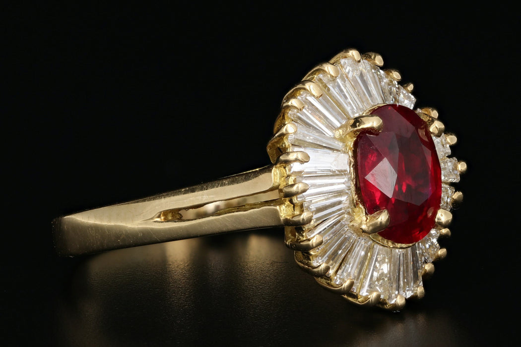 GIA Pigeons Blood Burma 1.43 Carat Ruby & Diamond Ring - Queen May