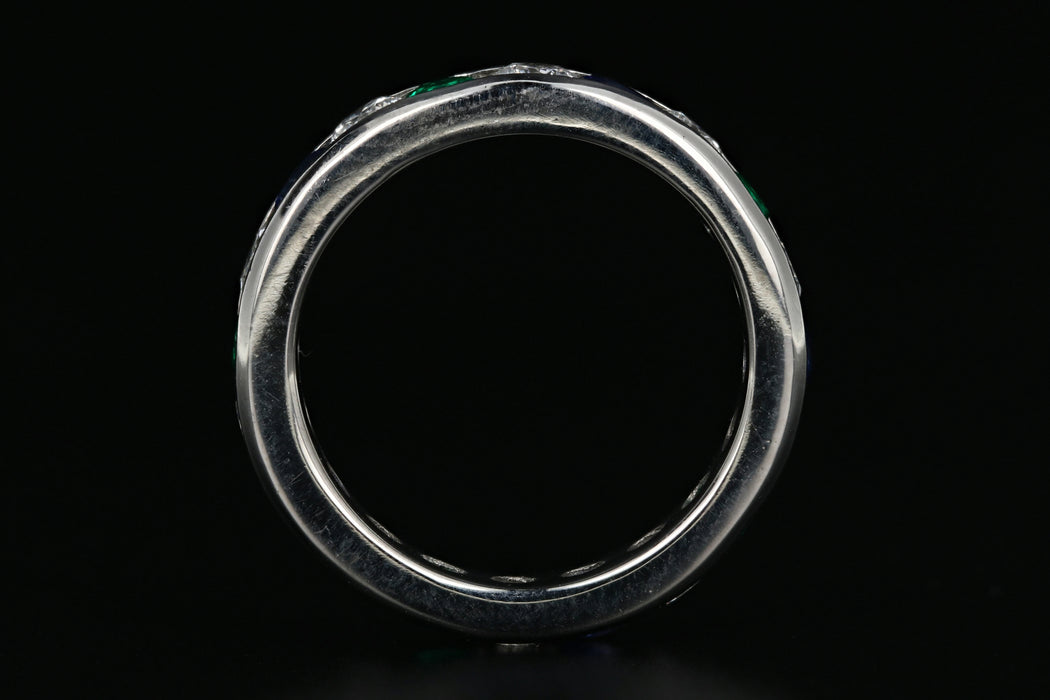 Platinum 1 Carat Diamond, Emerald, and Sapphire Band - Queen May