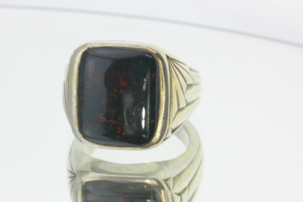 Antique Art Deco Silver Dragon Bloodstone Heliotrope Signet Ring - Queen May