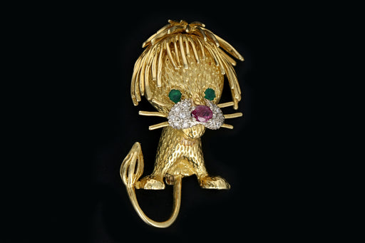 Vintage 18K Gold Lion Brooch With Rubies, Emeralds and Diamonds - Queen May