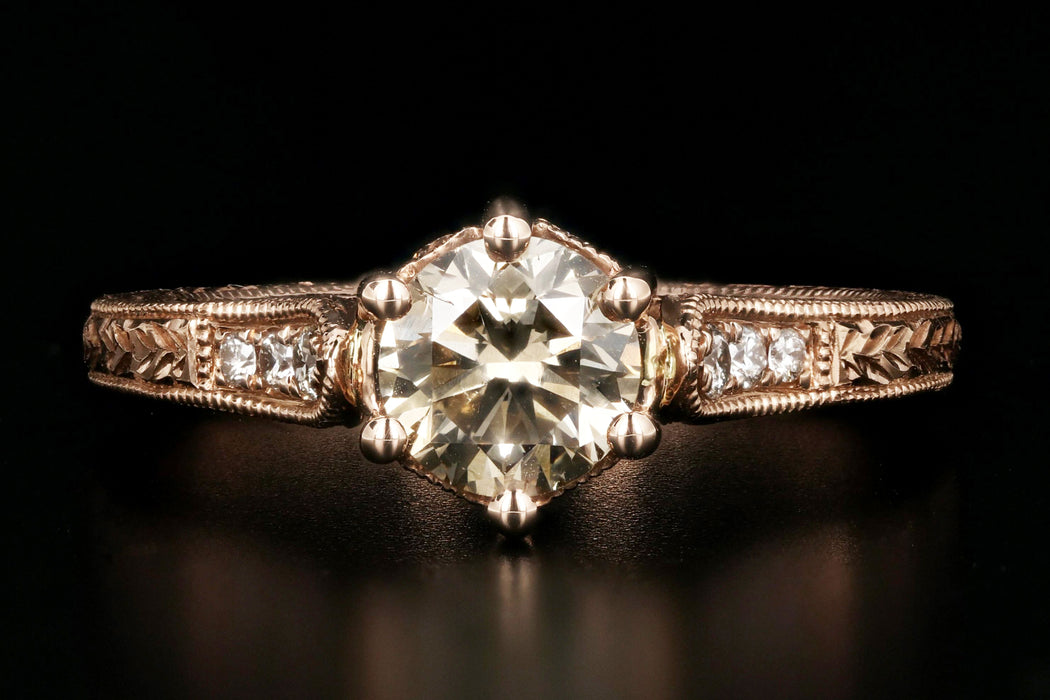 14K Rose Gold .81 Carat Champagne Diamond Engagement Ring - Queen May