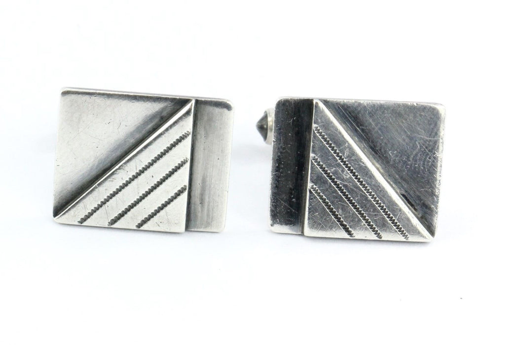 Vintage Sterling Silver E. Byrne Livingston Modernist Cufflinks - Queen May