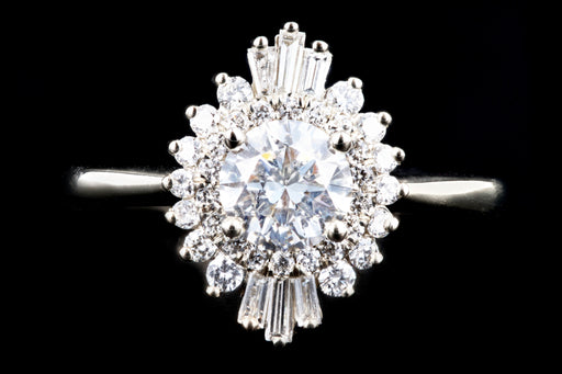 New 14K White Gold .72 Carat Round Brilliant Diamond Engagement Ring GIA Certified - Queen May