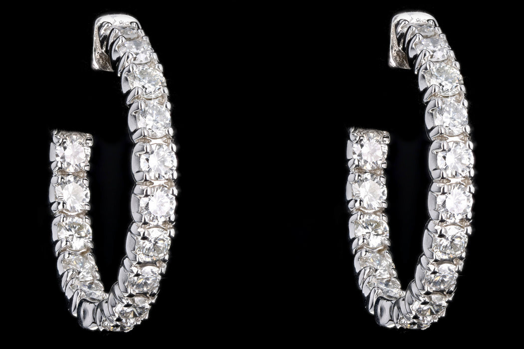 New 14K White Gold 2.58 Carat Round Brilliant Diamond Hoop Earrings - Queen May