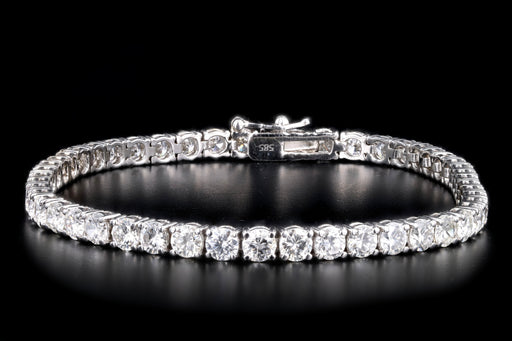 New 14K White Gold 7.59 Carat Round Brilliant Cut Diamond Tennis Bracelet - Queen May