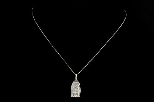 14K White Gold .75 CTW Diamond Pendant Necklace - Queen May