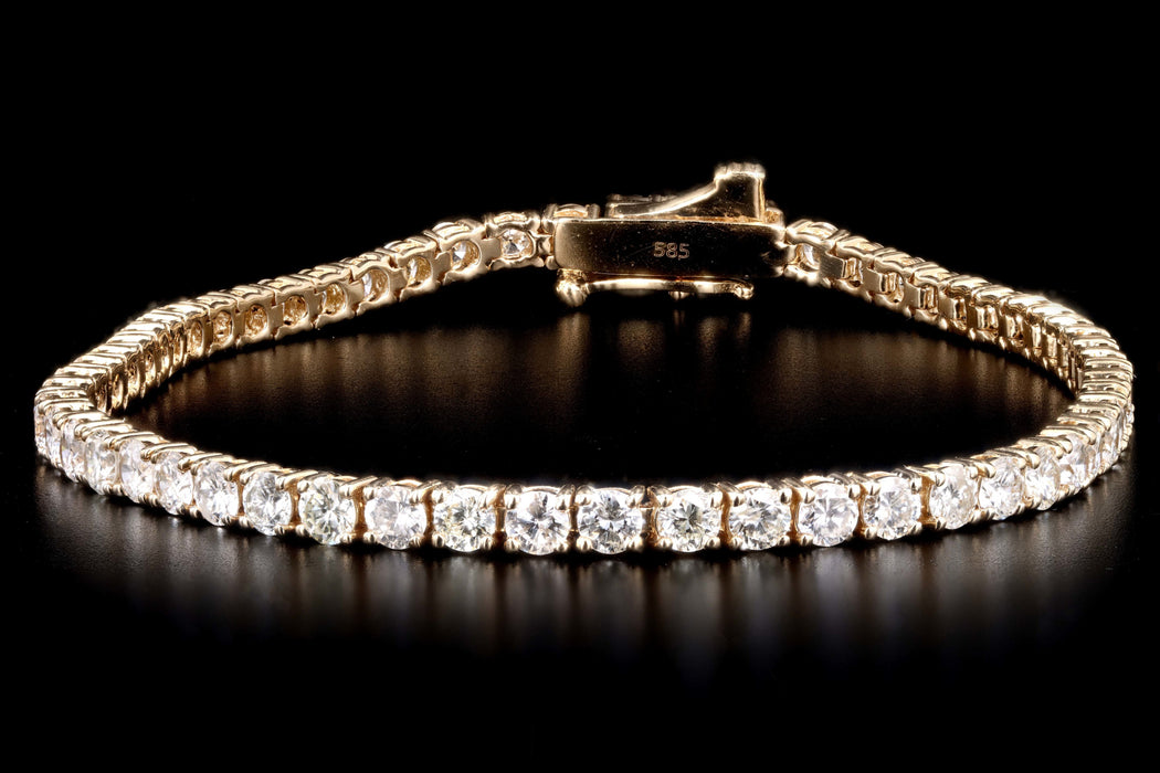 New 14K Yellow Gold 4.58 Carat Round Brilliant Cut Diamond Tennis Bracelet - Queen May