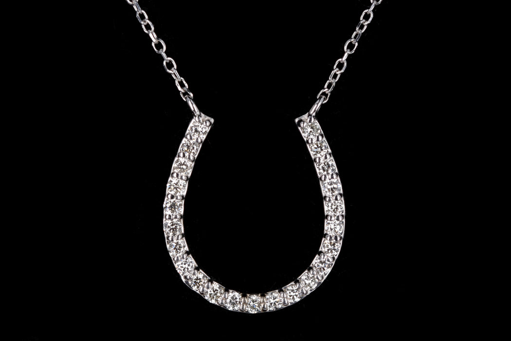 New 14K Gold Diamond Horseshoe Pendant Necklace - Queen May