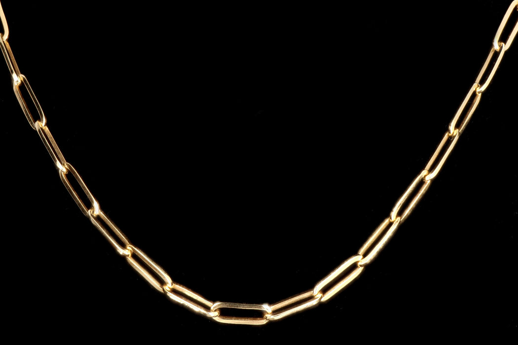 New 14K Gold Medium 3.85mm Paperclip Chain Necklace - Queen May