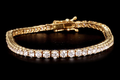 New 14K Yellow Gold 3.77 Carat Round Brilliant Cut Diamond Tennis Bracelet - Queen May