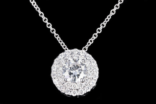 Modern 18K White Gold .42 Carat Round Brilliant Cut Diamond Halo Pendant Necklace - Queen May