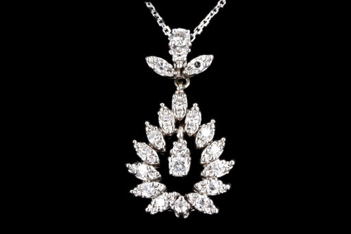 Retro 14K White Gold .70 Carat Diamond Pendant Necklace - Queen May