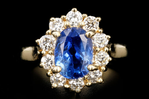 Modern 14K Yellow Gold 2.18 Natural Sapphire and Diamond Halo Ring - Queen May