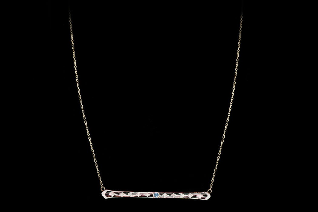 Art Deco 14K & Platinum Natural No Heat Natural Sapphire Bar Pin Conversion Necklace - Queen May