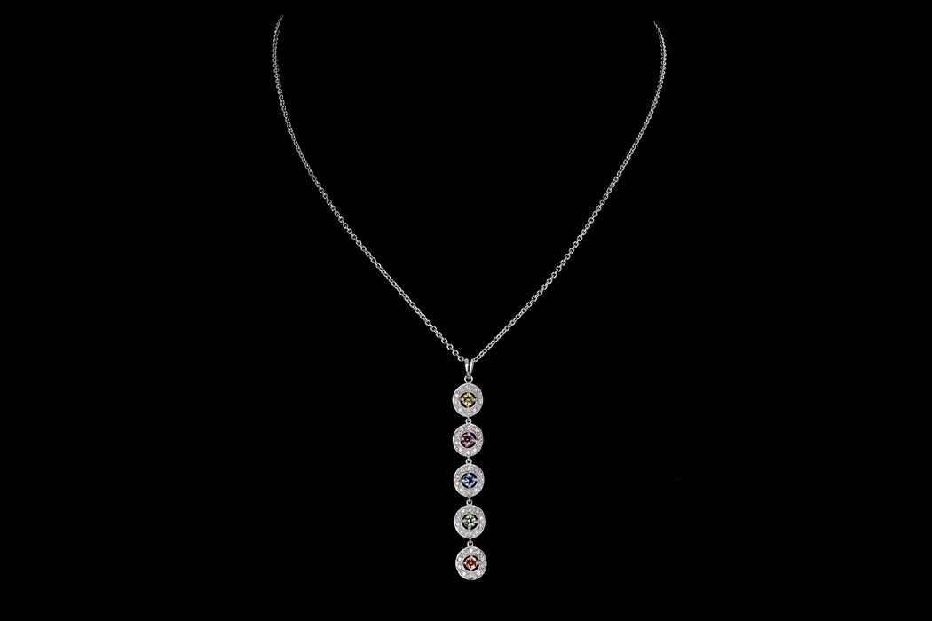 Modern 18K White Gold Multi Color Sapphire & Diamond Pendant Necklace - Queen May