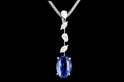 Modern 18K White Gold 3.51 Carat Natural No Heat Ceylon Sapphire & Diamond Pendant Necklace AIGS Certified - Queen May