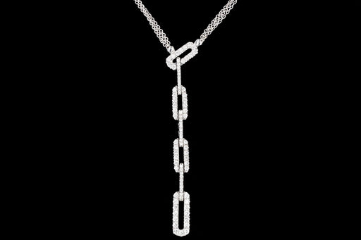 Modern Damiani 18K White Gold 1.25CTW Diamond Necklace - Queen May