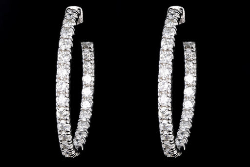 New 14K White Gold 4.31 Carat Round Brilliant Diamond Hoop Earrings - Queen May