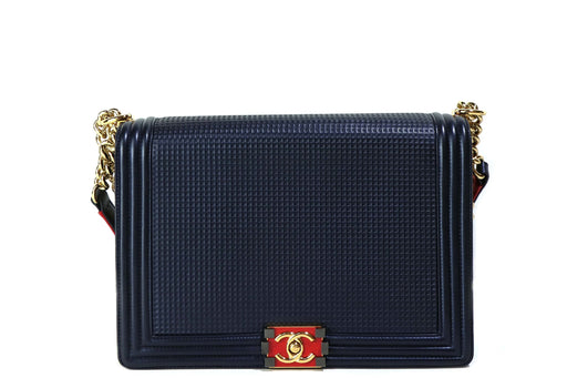 Chanel Lambskin Embossed Large Boy Cube Flap Navy Blue Bag - Queen May