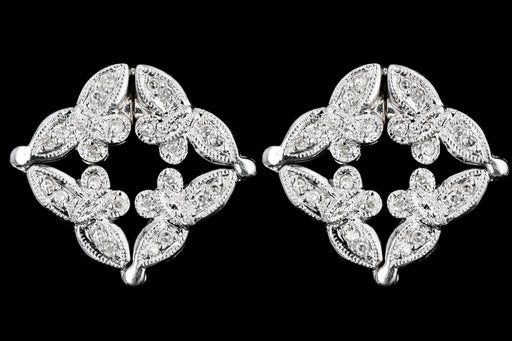 Modern 14K White Gold Diamond Butterfly Convertible Stud/Drop Earrings - Queen May