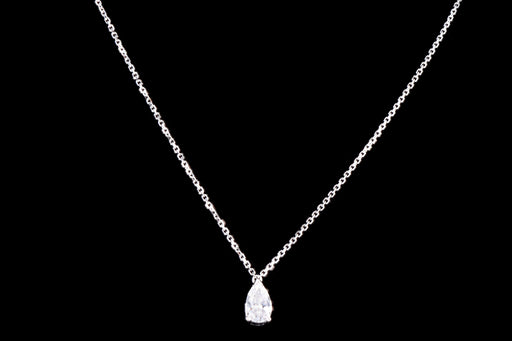 Modern Platinum .53 Carat Pear Cut Diamond Pendant Necklace - Queen May