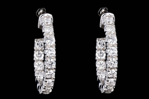 New 14K White Gold 2.59 Carat Round Brilliant Diamond Hoop Earrings - Queen May