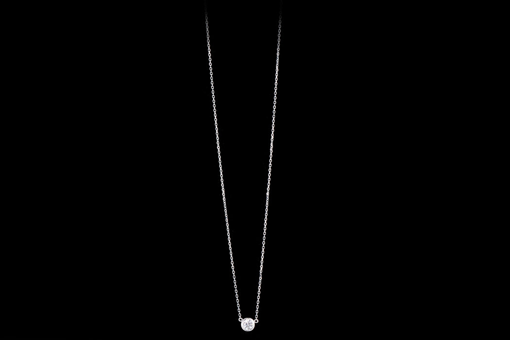New 14K Gold .22 Carat Round Brilliant Diamond Bezel Set Pendant Necklace - Queen May
