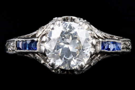 Art Deco Platinum 1.25 Carat Old European Cut Diamond & Synthetic Sapphire Engagement Ring - Queen May