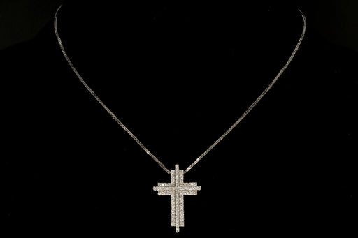 18K White Gold 1 CTW Diamond Cross Pendant with 14K White Gold Chain - Queen May