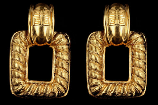 Vintage Givenchy Gold Plated Door Knocker Clip-On Earrings - Queen May