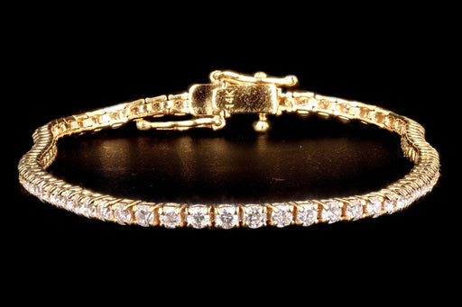 New 14K Yellow Gold 2.25 Carat Round Brilliant Cut Diamond Tennis Bracelet - Queen May