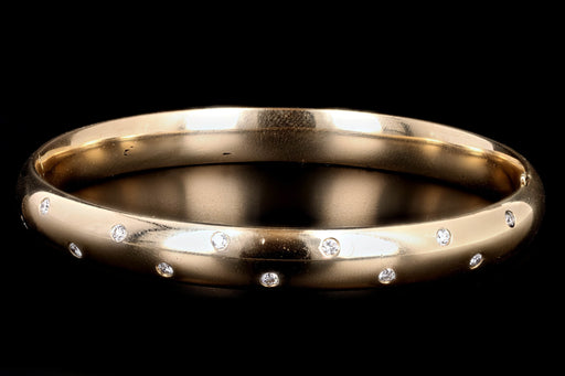 Modern 14K Yellow Gold .35 Carat Round Brilliant Diamond Bangle - Queen May