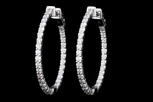 Modern 14K White Gold 2.17CTW Diamond In and Out Hoop Earrings - Queen May