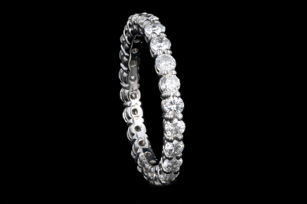 New 14K White Gold 1.69 Carat Round Brilliant Diamond Eternity Band - Queen May