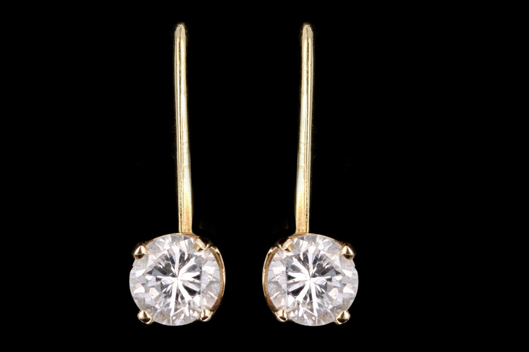 Modern 14K Yellow Gold .60 Carat Total Weight Round Brilliant Diamond Shepherd Hook Drop Earrings - Queen May
