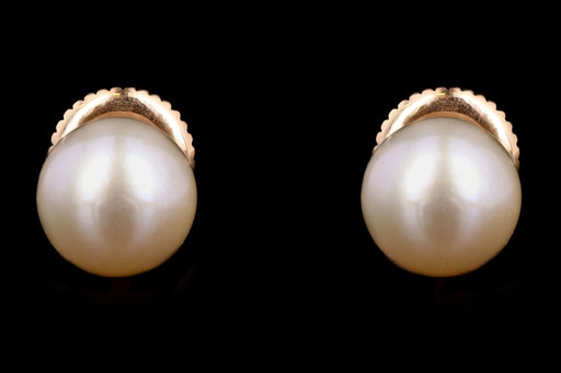 Modern 14K Yellow Gold 6.50mm Cultured Pearl Screw Back Earrings - Queen May