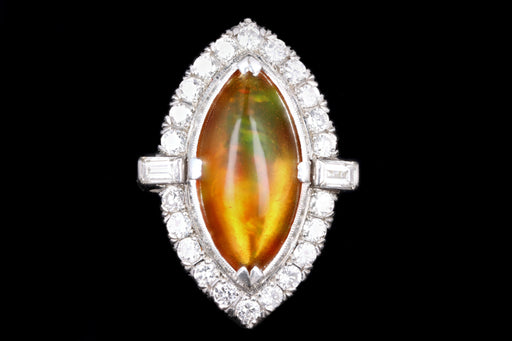 Retro Platinum 2.74 Carat Mexican Opal & Diamond Ring - Queen May