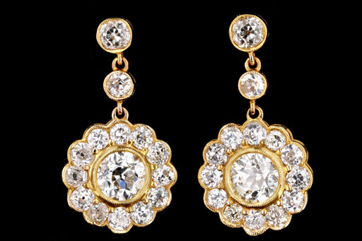 GIA Edwardian 5 Carats in Total Old European Diamond Drop Earrings c.1900 - Queen May